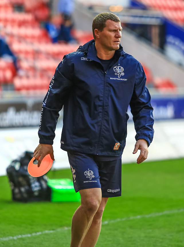 Benetton Treviso's Head Coach Kieran Crowley at the warm up.<br /> <br /> Photographer Dan Minto/CameraSport<br /> <br /> Guinness PRO12 Round 19 - Scarlets v Benetton Treviso - Saturday 8th April 2017 - Parc y Scarlets - Llanelli, Wales<br /> <br /> World Copyright &copy; 2017 CameraSport. All rights reserved. 43 Linden Ave. Countesthorpe. Leicester. England. LE8 5PG - Tel: +44 (0) 116 277 4147 - admin@camerasport.com - www.camerasport.com