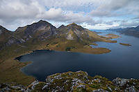 View over Selfjord from summit of Tverrfjellet, Lofoten Islands, Norway