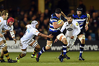 Charlie Ewels of Bath Rugby goes on the attack. Aviva Premiership match, between Bath Rugby and Wasps on December 29, 2017 at the Recreation Ground in Bath, England. Photo by: Patrick Khachfe / Onside Images