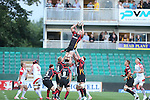 Dragons lock Matthew Screech wins the line out ball.<br /> RaboDirect Pro 12<br /> Newport Gwent Dragons v Ulster<br /> Rodney Parade<br /> 06.09.13<br /> <br /> &copy;Steve Pope-SPORTINGWALES