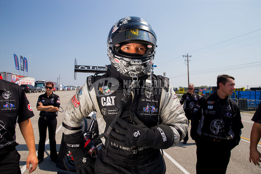 Sep 6, 2015; Clermont, IN, USA; NHRA top fuel driver Dave Connolly during qualifying for the US Nationals at Lucas Oil Raceway. Mandatory Credit: Mark J. Rebilas-USA TODAY Sports