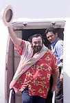 3/24/02. Luciano Pavarotti arrives on San Juan, Puerto Rico