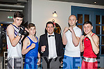 Knock out<br /> -------------<br /> At the St Margarets boxing club charity night in the Ashe hotel, Tralee in aid of Recovery Haven, were L-R Seve McMahon, Lomencho Cairns, Sean O'Leary, Patrick O'Sullivan with Bob Byrne.