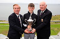 Carnalea Golf Club Captain Gerry Morrow and Brian Hutchinson Ulster Golf with Morgan O'Sullivan (Ballyneety) winner of the Ulster U/16 Open Championship at Carnalea Golf Club, Bangor, Antrim, Northern Ireland. 07/08/2019.<br /> Picture Fran Caffrey / Golffile.ie<br /> <br /> All photo usage must carry mandatory copyright credit (© Golffile | Fran Caffrey)