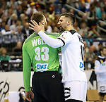 12.01.2019, Mercedes Benz Arena, Berlin, GER, Germany vs. Brazil, im Bild Andreas Wolff (GER #33), Fabian Wiede (GER #10)<br /> <br />      <br /> Foto &copy; nordphoto / Engler