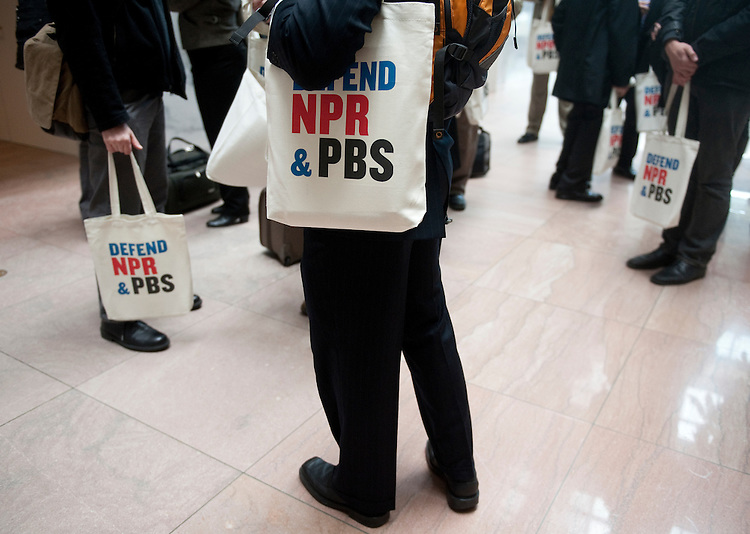 UNITED STATES - MARCH 15:  A group of public broadcasting supporters gathers in the Hart Senate Office building to lobby lawmakers to keep funding the PBS and NPR on Tuesday, March 15, 2011. (Photo By Bill Clark/Roll Call)