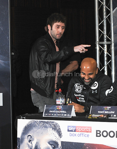 James Buckley from the Inbetweeners is pictured as he interrupts the Undercard and Main Event press conference for Saturday May 5th's boxing at the 02 arena in London. May 3, 2018. Credit: Matrix/MediaPunch ***FOR USA ONLY***<br />