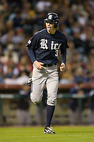Jeremy Rathjen #3 of the Rice Owls heads out to first base as a pinch runner versus the Texas A&M Aggies in the 2009 Houston College Classic at Minute Maid Park February 28, 2009 in Houston, TX.  The Owls defeated the Aggies 2-0. (Photo by Brian Westerholt / Four Seam Images)