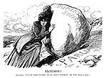 "Excelsior! Suffragist. ""It's no good talking to me about Sisyphus; He was only a man!"" (a Suffragette tries to push a large Women's Suffrage rock up the Parliament hill)"