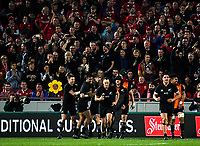 The All Blacks celebrate Jordie Barrett's try during the 2017 DHL Lions Series rugby union 3rd test match between the NZ All Blacks and British & Irish Lions at Eden Park in Auckland, New Zealand on Saturday, 8 July 2017. Photo: Dave Lintott / lintottphoto.co.nz