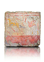 Lucanian fresco tomb painting of a man hunting deer . Paestrum, Andriuolo. Tomb n. 18.  ( 370-360 BC )