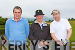 Referee Eric Brick centre with Edward Stack Ballybunion and David McMahon Tralee at the first tee-box in Dooks on Saturday