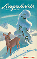 BNPS.co.uk (01202 558833)<br /> Pic: Lyon&Turnbull/BNPS<br /> <br /> Pictured: A vintage poster advertising Lenzerheide in Switzerland sold for £938<br /> <br /> A stunning set of vintage ski posters depicting the halcyon days of European winter holidays have sold for over £116,000.<br /> <br /> They featured early lithograph prints of advertising posters for glamorous resorts including Champery and Gstaad.<br /> <br /> The earliest posters in the sale dated from the turn of the 20th century, with the most recent examples from the 1960s.<br /> <br /> As transport links improved in the 1920s and '30s, skiing holidays grew in popularity.