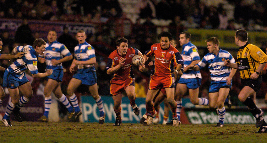 Photo: Alan Crowhurst. London Broncos v Wigan Warriors, Engage Super League, 12/03/2005..Lee Hopkins attacks.