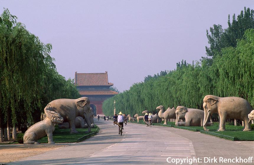 Geisterallee mit Skulpturen, Minggräber (Ming Ling), Peking (Beijing), China, Unesco-Weltkulturerbe