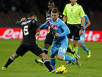 Dries Mertens  in action during the Italian Serie A soccer match between SSC Napoli and Parma FC at San Paolo stadium in Naples