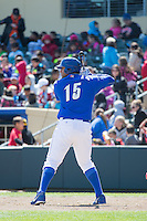 Matt Fields (15) of the Omaha Storm Chasers at bat against the Memphis Redbirds in Pacific Coast League action at Werner Park on April 22, 2015 in Papillion, Nebraska.  (Stephen Smith/Four Seam Images)