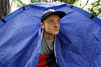 Pictured: A homeless man who did not wish to give out his name, living in a tent by Boulevard de Nantes opposite Cardiff City Hall. Wednesday 12 June 2019<br /> Re: Homeless people living in tents in Cardiff, Wales, UK.