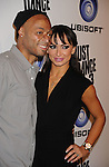 """LOS ANGELES, CA - OCTOBER 04: J.R. Martinez and Karina Smirnoff arrive at the launch of """"Just Dance 3"""" at The Beverly on October 4, 2011 in Los Angeles, California."""
