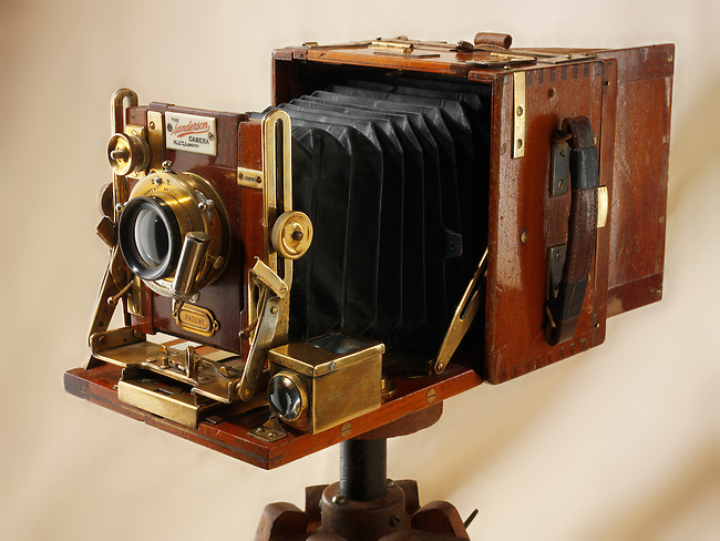 Sanderson tropical Half Plate wooden View Camera on a wooden tripod
