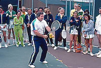 Vic Braden on court with students at his Tennis College. Coto de Caza CA, 1976.