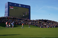 Tommy Fleetwood (Team Europe) on the 12th green during the saturday foursomes at the Ryder Cup, Le Golf National, Ile-de-France, France. 29/09/2018.<br /> Picture Fran Caffrey / Golffile.ie<br /> <br /> All photo usage must carry mandatory copyright credit (© Golffile | Fran Caffrey)
