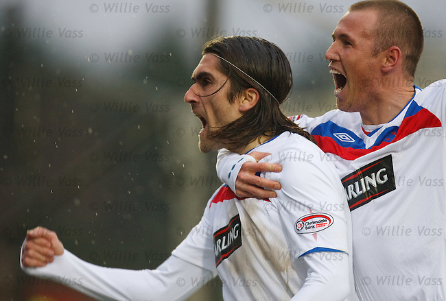 Pedro Mendes celebrates his goal for Rangers with Kenny Miller