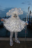 Venice, Italy, 8 February 2015. Man in a seagull costume. People wear traditional masks and costumes to celebrate the 2015 Carnival in Venice. carnivalpix/Alamy Live News