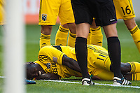 Dominic Oduro (11) of the Columbus Crew lays on the field after being injured. The New York Red Bulls and the Columbus Crew played to a 2-2 tie during a Major League Soccer (MLS) match at Red Bull Arena in Harrison, NJ, on May 26, 2013.