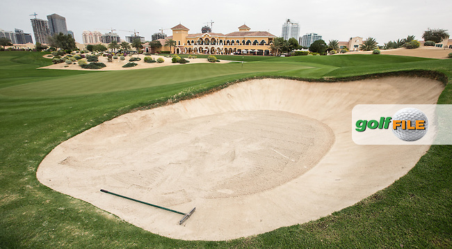 18th green at The Els Club , Dubai, United Arab Emirates.  28/01/2016. Picture: Golffile   David Lloyd<br /> <br /> All photos usage must carry mandatory copyright credit (&copy; Golffile   David Lloyd)