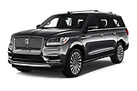 2018 Lincoln Navigator L Reserve 5 Door Wagon angular front stock photos of front three quarter view