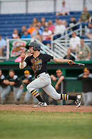 West Virginia Black Bears center fielder Daniel Amaral (27) follows through on a swing during a game against the Batavia Muckdogs on June 19, 2018 at Dwyer Stadium in Batavia, New York.  West Virginia defeated Batavia 7-6.  (Mike Janes/Four Seam Images)