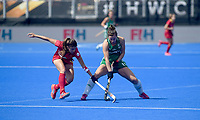 Ireland's Megan Frazer battles with Alicia Magaz<br /> <br /> Photographer Hannah Fountain/CameraSport<br /> <br /> Vitality Hockey Women's World Cup - Ireland v Spain - Saturday 4th August 2018 - Lee Valley Hockey and Tennis Centre - Stratford<br /> <br /> World Copyright &copy; 2018 CameraSport. All rights reserved. 43 Linden Ave. Countesthorpe. Leicester. England. LE8 5PG - Tel: +44 (0) 116 277 4147 - admin@camerasport.com - www.camerasport.com