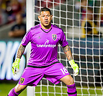 Real Salt Lake goalkeeper Nick Rimando (18) guards the net against Philadelphia Union in the first half Saturday, March 14, 2015, during the Major League Soccer game at Rio Tiinto Stadium in Sandy, Utah. (© 2015 Douglas C. Pizac)