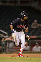 AZL Indians 1 shortstop Marcos Gonzalez (1) hustles down the first base line during an Arizona League game against the AZL White Sox at Goodyear Ballpark on June 20, 2018 in Goodyear, Arizona. AZL Indians 1 defeated AZL White Sox 8-7. (Zachary Lucy/Four Seam Images)