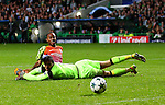 Raheem Sterling of Manchester City scores their second goal past Craig Gordon of Celtic during the Champions League Group C match at the Celtic Park Stadium, Glasgow. Picture date: September 28th, 2016. Pic Simon Bellis/Sportimage