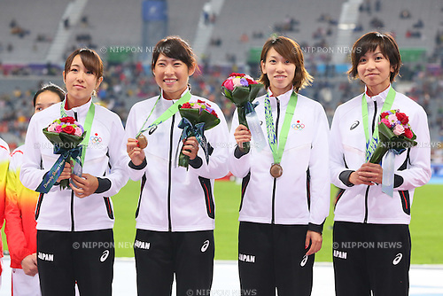 (L-R) Anna Fujimori, Masumi Aoki, Chisato Fukushima, <br /> Ayako Kimura (JPN), <br /> OCTOBOR 2, 2014 - Athletics : <br /> Women's 4x100m Relay <br /> at Incheon Asiad Main Stadium <br /> during the 2014 Incheon Asian Games in Incheon, South Korea. <br /> (Photo by Yohei Osada/AFLO SPORT)