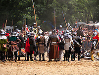 Medieval Knights Battle on Vitkov Hill in Pragues district 3.