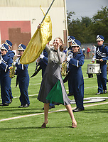 NWA Democrat-Gazette/FLIP PUTTHOFF <br />MUSIC MARCH<br />Chloe Riggins with the Shiloh Christian high school marching band of Springdale catches her flag Saturday Oct. 6 2018 during the Bentonville Marching Invitational at Tiger Stadium in Bentonville. Seventeen marching bands from high schools in Arkansas, Missouri and Oklahoma competed. Each band performed 15 minutes for judges in the event.