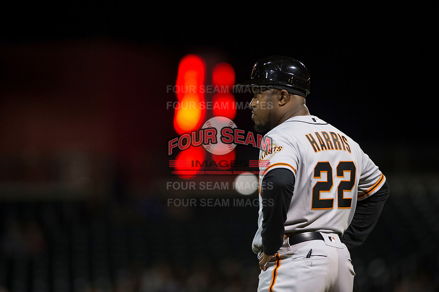 Scottsdale Scorpions manager Willie Harris (22), of the San Francisco Giants organization, during an Arizona Fall League game against the Mesa Solar Sox at Sloan Park on October 10, 2018 in Mesa, Arizona. Scottsdale defeated Mesa 10-3. (Zachary Lucy/Four Seam Images)