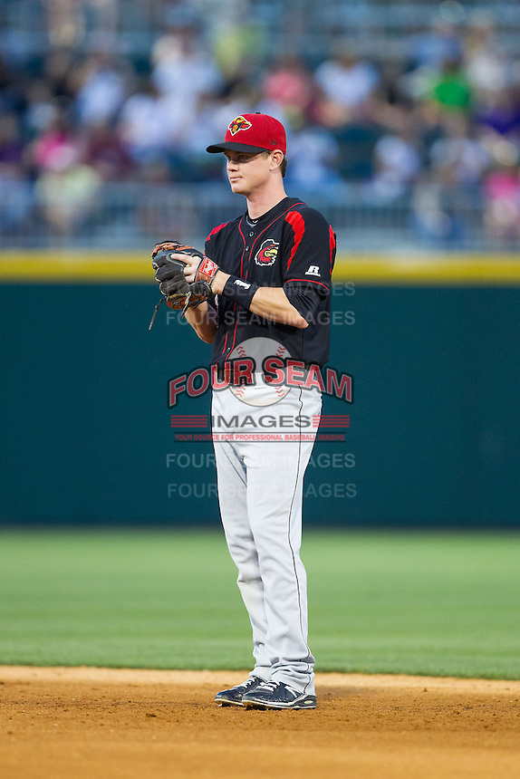 Rochester Red Wings second baseman James Beresford (2) on defense against the Charlotte Knights at BB&T Ballpark on June 5, 2014 in Charlotte, North Carolina.  The Knights defeated the Red Wings 7-6.  (Brian Westerholt/Four Seam Images)