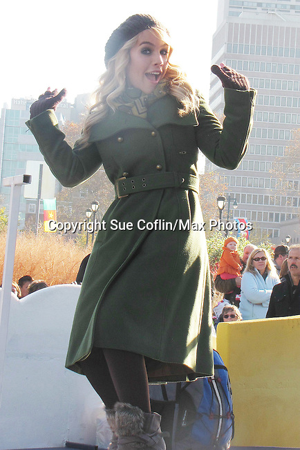 "General Hospital's Kristen Alderson ""Starr Manning"" on the float at the Philadelphia 93rd Annual Thanksgiving Day Parade on November 22, 2012 in Philadelphia, Pennsylvania. (Photo by Sue Coflin/Max Photos)"