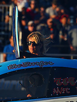 Jul. 26, 2013; Sonoma, CA, USA: Leeza Diehl wife of NHRA funny car driver Jeff Diehl during qualifying for the Sonoma Nationals at Sonoma Raceway. Mandatory Credit: Mark J. Rebilas-