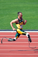 "04.08.2012 Stratford, England. Oscar Pistorius (RSA) known as ""blade runner"" runs in a heat of the Mens 400m finishing 2nd during the Athletics on Day 8 of the London 2012 Olympic Games at the Olympic Stadium."