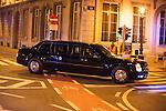"""©www.agencepeps.be - Visite officielle de Barack Obama à Bruxelles.Sous haute protection et accompagné d'une délégation d'environs 900 personnes. Pics: Voiture """"The Beast"""""""