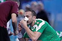 Algeria's Salah Eddine Cheikh injured during 23rd Men's Handball World Championship preliminary round match.January 14,2013. (ALTERPHOTOS/Acero) 7NortePhoto