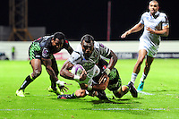 Semesa Rokoduguni of Bath Rugby dives for the Pau try-line. European Rugby Challenge Cup match, between Pau (Section Paloise) and Bath Rugby on October 15, 2016 at the Stade du Hameau in Pau, France. Photo by: Patrick Khachfe / Onside Images