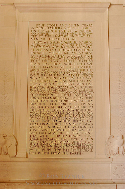 Abraham Lincoln's Gettysburg Address, Lincoln Memorial, National Mall, Washington DC