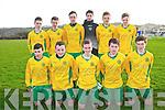 Kerry U/15 Soccer Team: Front : Padraig Cronin, Sean O'Leary, Darren Loughnane, Dylan O'Sullivan & Sean Collins. Back : Conor Lowe, Cian Gammell, Gary Mathews, Nelu Doherty, Niall O'Donoghue & Michael Potts.