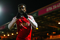 Jordy Hiwula of Fleetwood Town celebrates scoring during the Sky Bet League 1 match between Rochdale and Fleetwood Town at Spotland Stadium, Rochdale, England on 20 March 2018. Photo by Thomas Gadd.